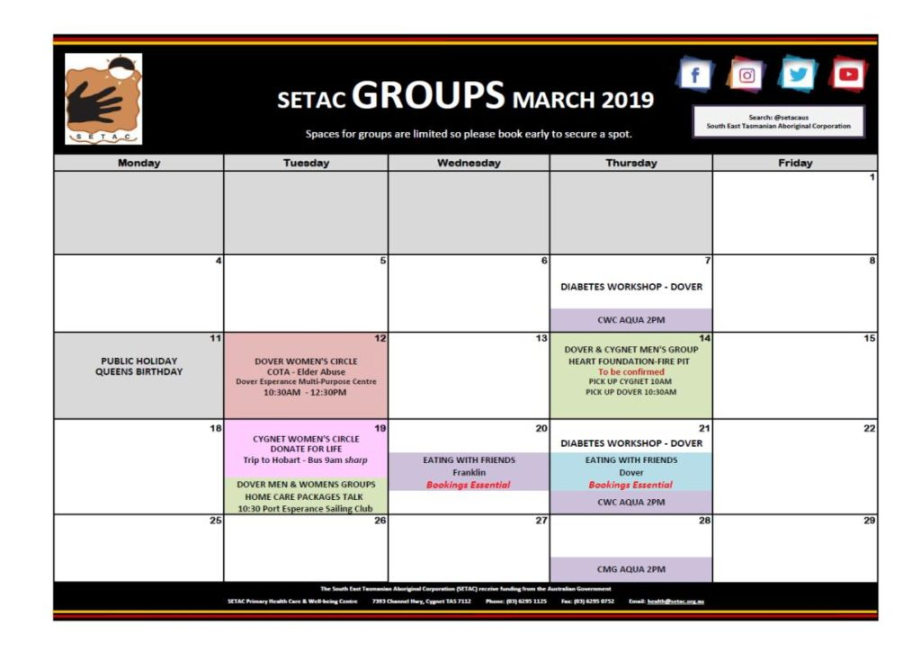 Calendar 201903 - Flyer Version March 2019 p1 Groups