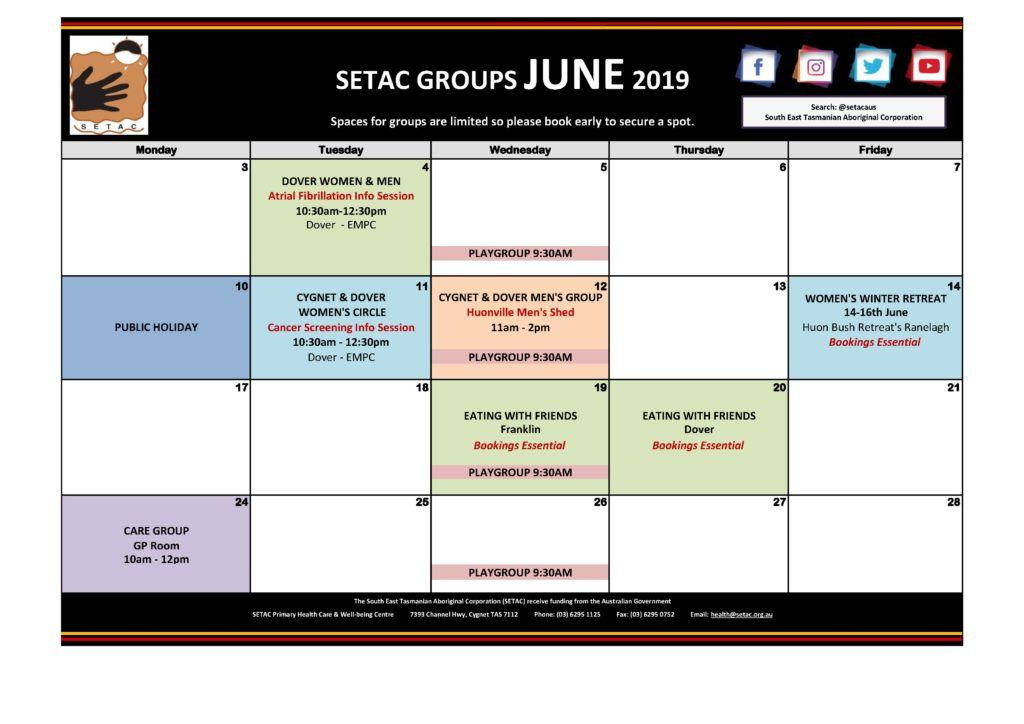 Calendar 201906 - Flyer Version June 2019 p1 Groups