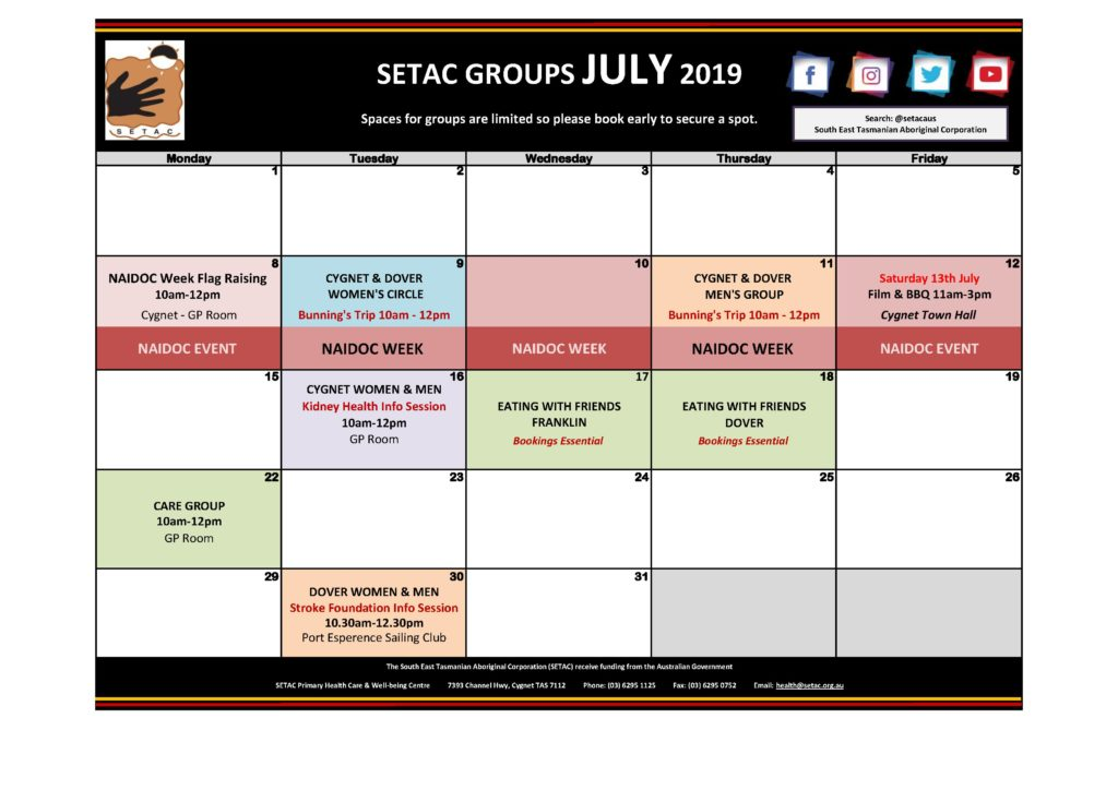 Calendar 201907 - Flyer Version July 2019 p1 Groups