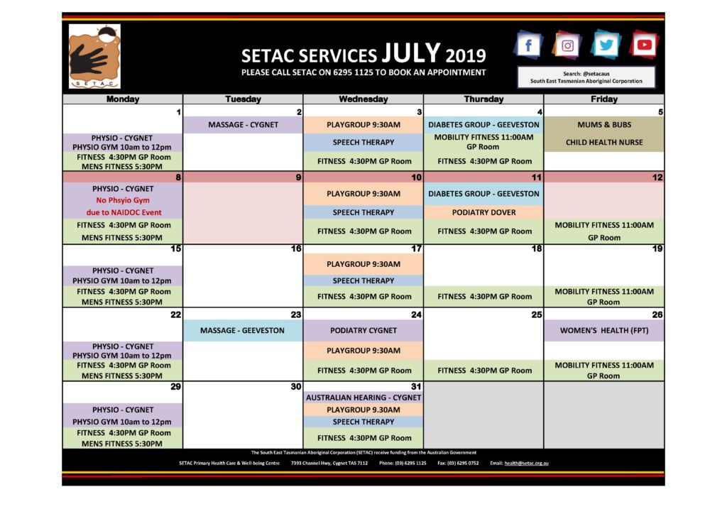 Calendar 201907 - Flyer Version July 2019 p2 Services