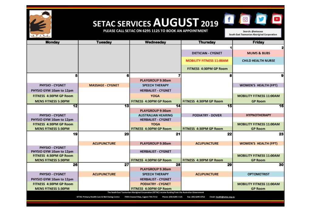 Calendar 201908 - Flyer Version August 2019 p1 Services