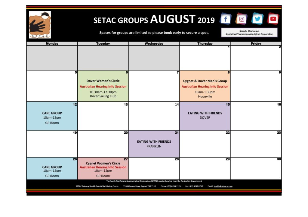 Calendar 201908 - Flyer Version August 2019 p2 Groups