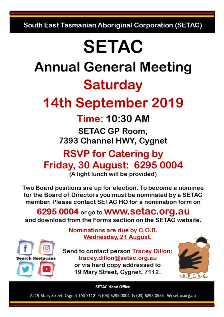 Event Flyer for SETAC AGM Saturday 14 September 2019