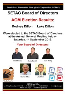SETAC Board of Directors AGM Election Results: Rodney Dillon Luke Dillon Were elected to the SETAC Board of Directors at the Annual General Meeting held on Saturday, 14 September 2019. Your Board of Directors: Brad Strong, Jamie Bantick, Julie Dunlop, Rodney Dillon, Luke Dillon.