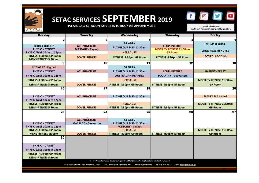 Calendar 201909 - Flyer Version September 2019 p1 Services