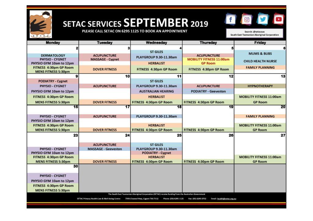 Calendar 201909 - Flyer Version September 2019 p1 Services
