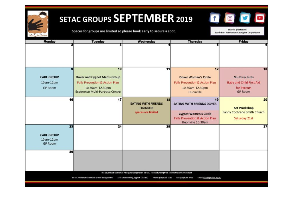 Calendar 201909 - Flyer Version September 2019 p2 Groups