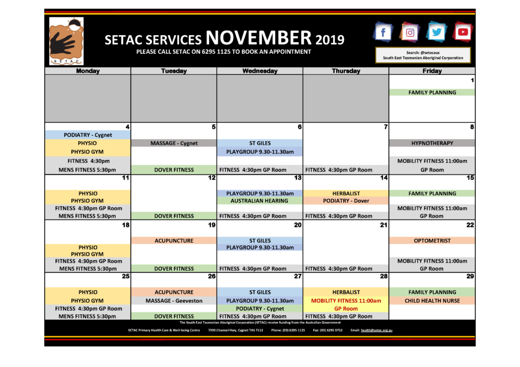 2019 11 November Events Calendar Flyer p1 Services
