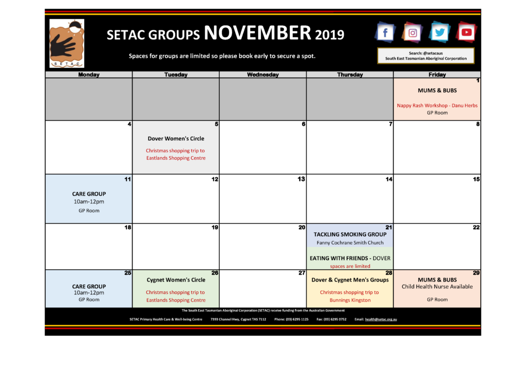 2019 11 November Events Calendar Flyer p2 Groups