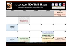 2019 11 November Events Calendar Flyer p2 Groups
